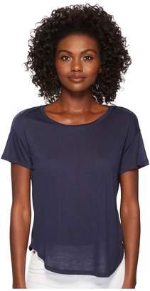 Three Dots Tencel Short Sleeve Shirttail Hem Tee Women's Clothing