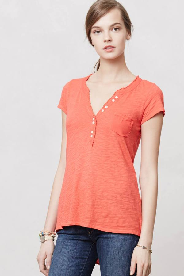 Anthropologie High-Low Henley Tee