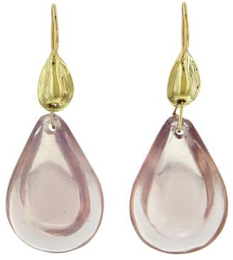 Ten Thousand Things Rose Quartz Teardrop Cut Stone Earrings