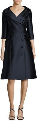 Rickie Freeman for Teri Jon Double-Breasted Taffeta A-Line Dress, Navy $660 thestylecure.com
