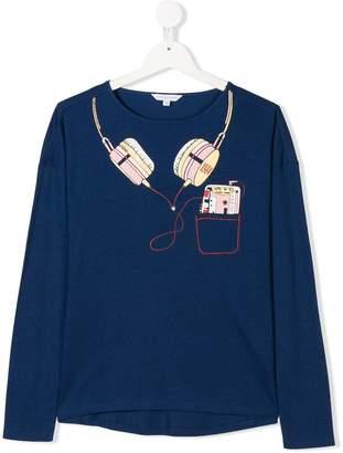 Little Marc Jacobs TEEN trompe l'oeil headphone and cassette print top