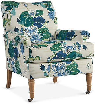 One Kings Lane Avery Roll-Arm Accent Chair - Green/Royal Blue