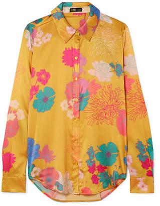 Stine Goya Maxwell Floral-print Silk-blend Charmeuse Shirt - Marigold