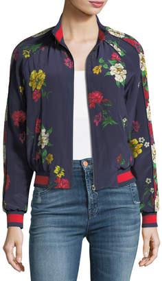 Joie Avariella Floral-Print Silk Bomber Jacket