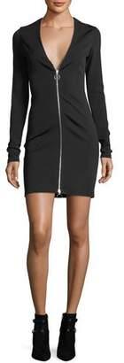 Alexander Wang Deep V-Neck Stretch Faille Ponte Long-Sleeve Dress w/ Zipper