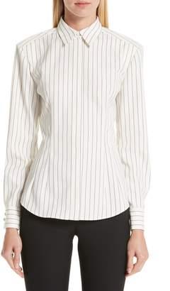 Sara Battaglia Pinstripe Wool Shirt