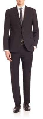 Giorgio Armani Solid Black Wool Stretch Suit