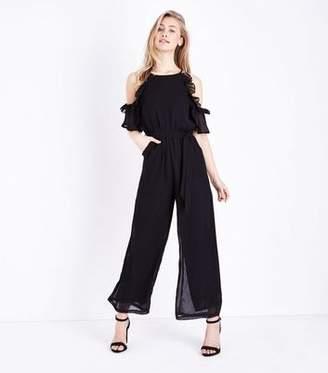 622aba773d Yumi Black Frill Trim Cold Shoulder Jumpsuit