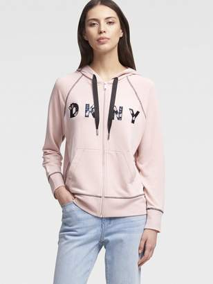 DKNY Logo Zip Hoodie With Sequin Butterfly Embroidery