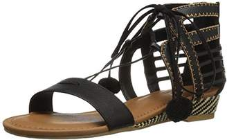 Sugar Women's Dreamer 2 Open Toe Pom Pom Demi Raffia Lace-up Wedge