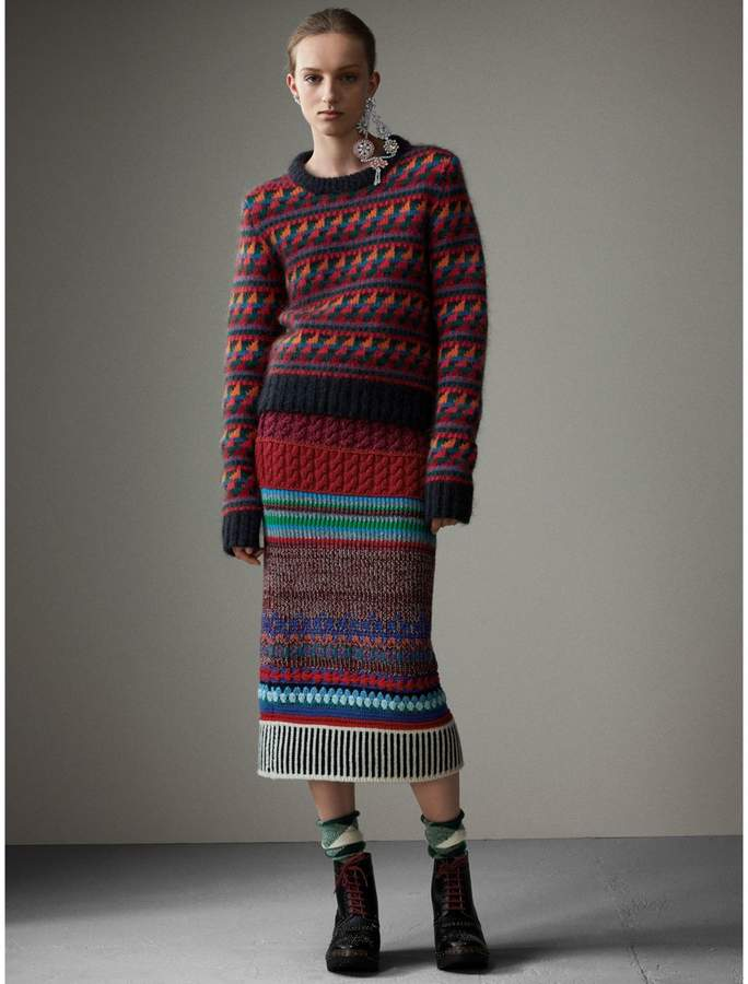 Burberry Hand-crocheted Detail Cashmere Wool Blend Skirt