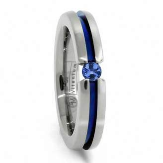 Zales Radiance by Edward Mirell Blue Sapphire Wedding Band in Titanium