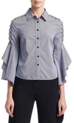 Jonathan Simkhai Grommet Whip Stitch Cotton Button-Down Shirt