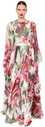 Dolce & Gabbana Floral Silk Chiffon Dress & Crystal Belt