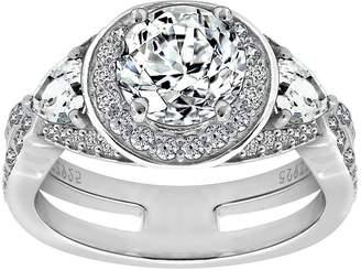 Diamonique Sterling Silver Round Halo Ring