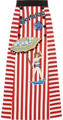 Dolce & Gabbana Embellished Striped Stretch-cotton Maxi Skirt
