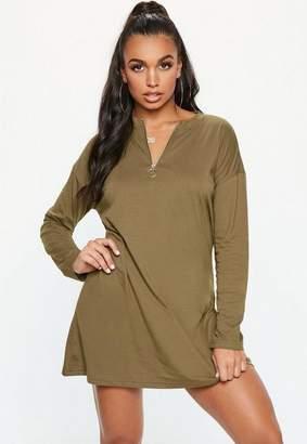 f954b7742d8 Missguided Khaki Oversized Zip Front Long Sleeve T-Shirt Dress
