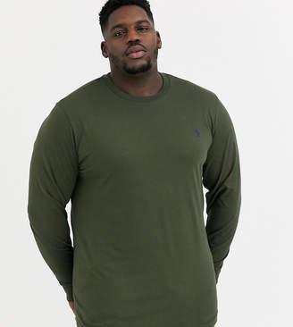 Polo Ralph Lauren Ralph Lauren Big & Tall player logo custom fit long sleeve t-shirt in estate olive