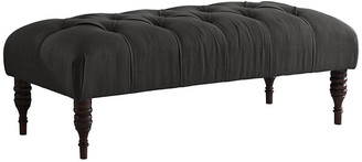 One Kings Lane Stanton Tufted Bench - Charcoal Linen