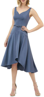 Kay Unger New York Sleeveless Belted Stretch Faille High-Low Midi Dress
