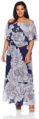 Donna Morgan Women's Plus Size Off The Shoulder Maxi Dress