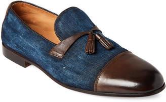 Doucal's Denim & Leather Tasseled Loafers