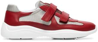 Prada red, grey and white america's cup leather sneakers