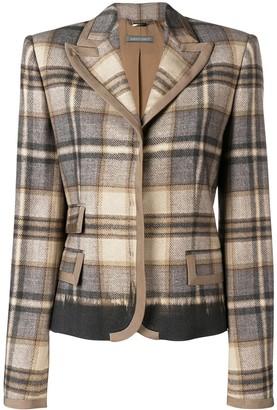 Alberta Ferretti check print fitted blazer