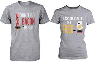 365 Printing Cute Matching Couple Shirts - Bacon and Egg Grey Cotton Graphic T-shirts