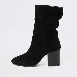 River Island Black suede slouch block heel boots