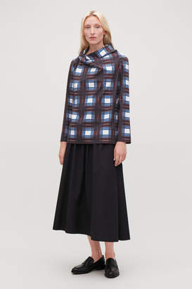 Cos DRAPED-NECK CHECKED TOP