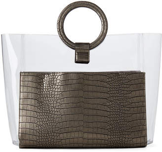 Vince Camuto PVC & Croc Ring Handle Tote