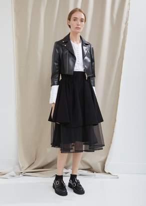 Noir By Kei Ninomiya Synthetic Leather Shrunken Moto Jacket