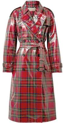 Burberry Double-breasted Checked Coated Wool Trench Coat