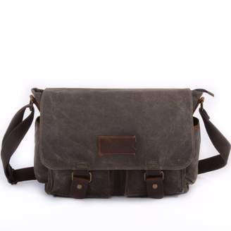 EAZO - Waxed Canvas Water Repellent Postman Shoulder Bag in Green