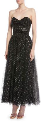 Monique Lhuillier Sweetheart-Neck Strapless Golden-Dot Tulle Cocktail Dress