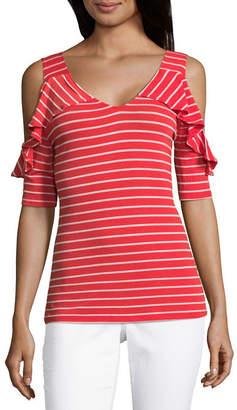 Liz Claiborne COMO BLU Como Blu Cold Shoulder V Neck Jersey T-Shirt