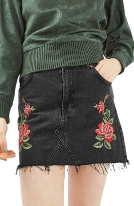 Women's Topshop Rose Denim Miniskirt $68 thestylecure.com