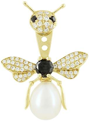 Black Diamond Yvonne Leon Bee Diamond, & Freshwater Pearl Ear Jacket