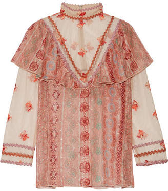 Anna Sui - Printed Metallic Fil Coupé Chiffon And Embroidered Tulle Blouse - Pink