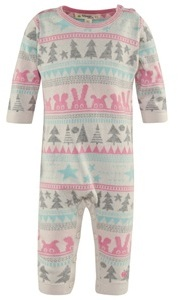 The Bonnie Mob Pink Woodland Knitted Footless Babygrow