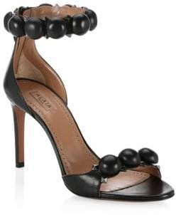 Alaia Leather Bombe Ankle Strap Sandals