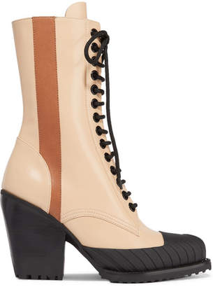Chloé Rylee Glossed-leather Ankle Boots - Brown