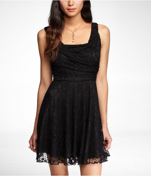 Express Ruched Lace Swing Dress
