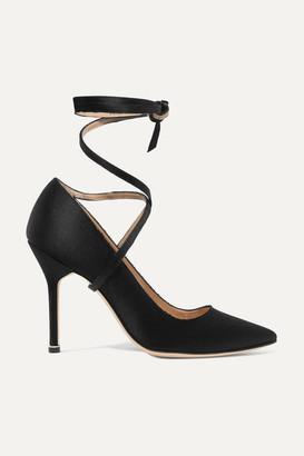 Vetements - Manolo Blahnik Satin Pumps - Black $1,775 thestylecure.com