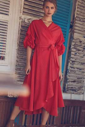 Girls On Film Polka Dot Red Wrap Dress
