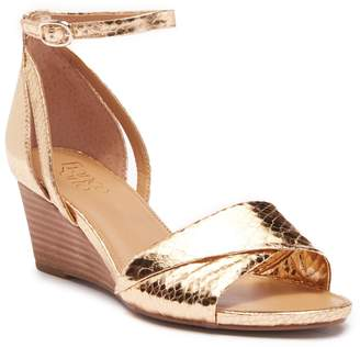 Franco Sarto Deirdra Snake-Embossed Wedge Ankle Strap Sandal - Wide Width Available