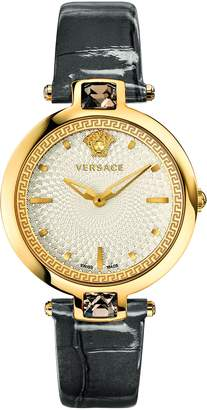 Versace Women's 'Crystal Gleam' Swiss Quartz Stainless Steel and Leather Casual Watch, Color (Model: VAN060016)