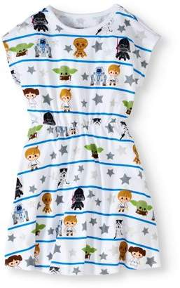 Star Wars Tsum Tsum Girls' Favorite Characters All Over Print Short Sleeve Graphic Dress With Silver Glitter on Stars