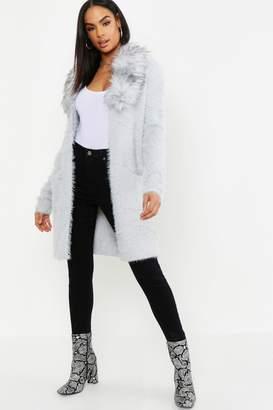 boohoo Tall Faux Fur Collar Soft Knit Cardigan
